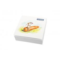 Poznámkový bloček lepený, 90x90x25mm PAPRSEK® s přebalem - zajíc a mrkev