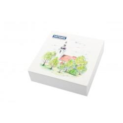 Poznámkový bloček PAPRSEK® lepený, 90x90 mm, 250 listů s přebalem - různé motivy obrázků