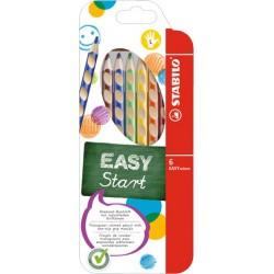 Pastelky STABILO® EASY colors, dřevěné, trojhranné, 6 barev/sada, dlouhé - pro leváky