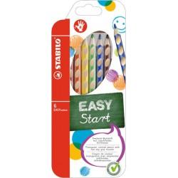 Pastelky STABILO® EASY colors, dřevěné, trojhranné, 6 barev/sada, dlouhé - pro praváky