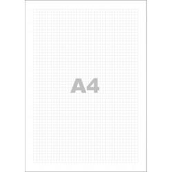 Poznámkový blok A4, bez přebalu, lepený, 50 listů 80g - čtvereček