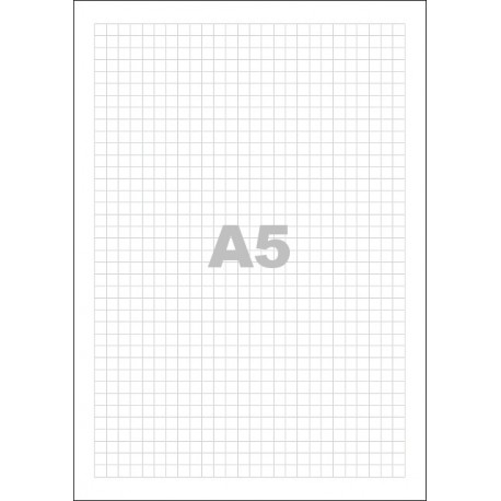 Poznámkový blok A5, bez přebalu, lepený, 50 listů 80g - čtvereček