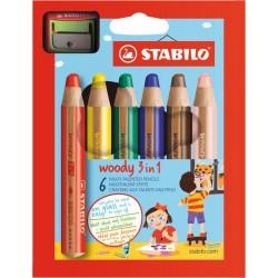 Pastelky STABILO woody 3v1, 6 barev /sada s ořezávátkem