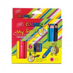 Pastelky EASY 3v1, 6 barev /sada s ořezávátkem