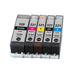Multipack 5ks Canon CLI-521 a PGI-520 - kompatibilní - včetně čipu