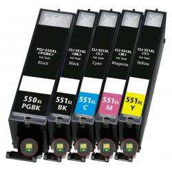 Multipack 5ks Canon CLI-551XL a PGI-550XL - kompatibilní