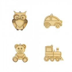 SOVIČKA, AUTÍČKO, MEDVÍDEK, MAŠINKA sada 4ks - dekorační předměty k zavěšení, ručně slepeno