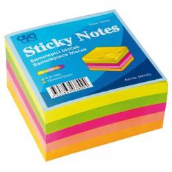 Samolepicí bloček AURO 75x75x40 mm - neon - KOSTKA - 400 listů - mix 5 neonových barev