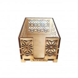 Dřevěný zásobník PAPRSEK® na 175 ks objednacích kartiček, 75x105x55mm - překližka, laserem vyřezáno, ručně slepeno