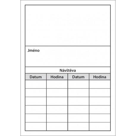 Balení 250 ks objednávacích kartiček PAPRSEK® bez obrázku, šedý tisk, 3,80 Kč/ks