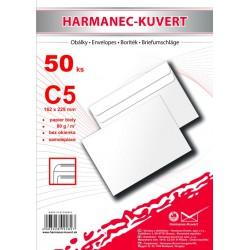 Obálka C5, bílá, samolepící, 80g/m2, 162x229 mm - 50ks