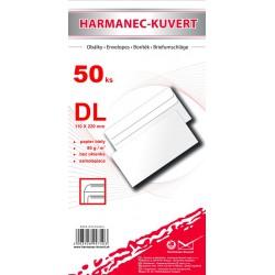 Obálka DL, bílá, samolepící, 80g/m2, 110x220 mm, bez okénka - 50ks