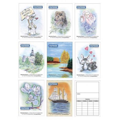Balení 500 ks objednávacích kartiček PAPRSEK® s obrázkem, mix motivů,  3,60 Kč/ks