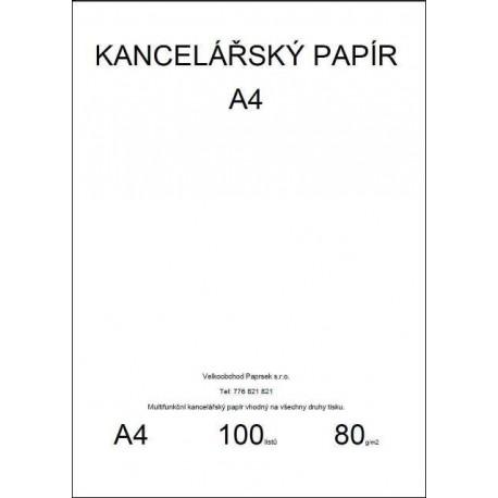 Kancelářský papír A4, 80gr, 100 listů, baleno ve folii