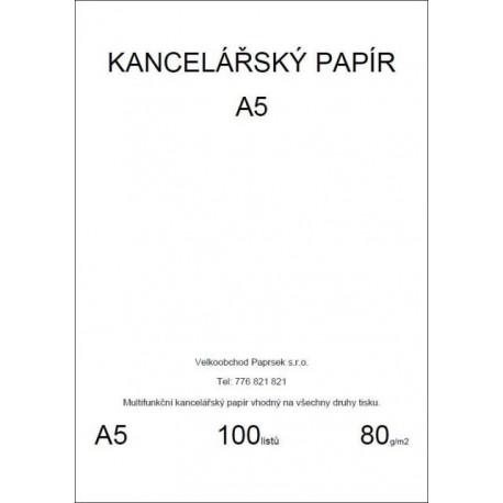 Kancelářský papír A5, 80gr, 100 listů, baleno ve folii