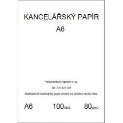 Kancelářský papír A6, 80gr, 100 listů, baleno ve folii