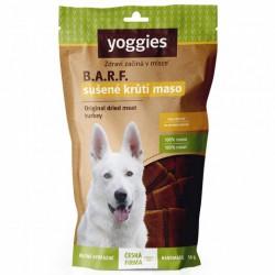 Sušené proužky krutího masa pro psy Yoggies, vakuově balené, 50g