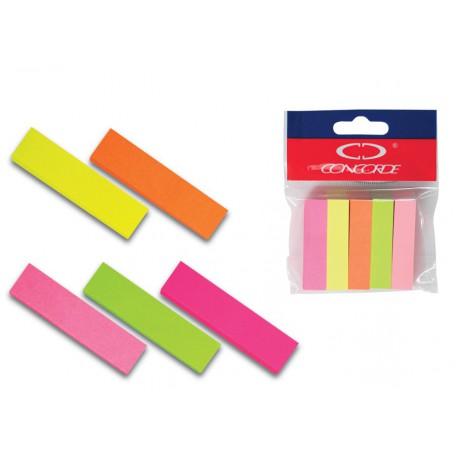 Samolepicí záložky CONCORDE - neon - 12x50mm, 5x100 papírových listů