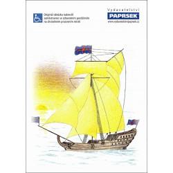 Poznámkový blok A4 PAPRSEK®, lepený, čistý, 50 listů, plachetnice