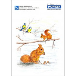 Poznámkový blok A4 PAPRSEK®, lepený, čistý, 50 listů, veverky