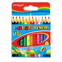 Pastelky KEYROAD trojhranné 12 barev/sada - krátké