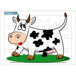Puzzle PAPRSEK® A4 s rámečkem na podložce ve folii, 24 dílků - kravička