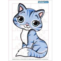 Puzzle PAPRSEK® A4 s rámečkem na podložce ve folii, 24 dílků - kočička