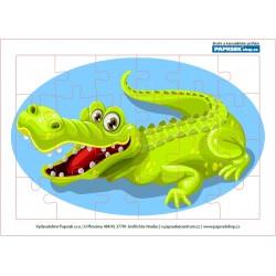 Puzzle PAPRSEK® A4 s rámečkem na podložce ve folii, 24 dílků - krokodýl