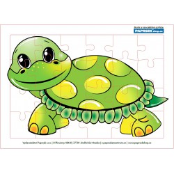 Puzzle PAPRSEK® A4 s rámečkem na podložce ve folii, 24 dílků - želvička