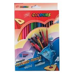 Pastelky EasyColours dřevěné, trojhranné 18 barev/sada